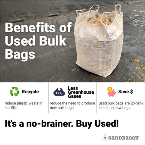 Benefits of Used Bulk Bags: Recycle (reduce plastic waste in landfills), Less Greenhouse Gases (reduce the need to produce new bulk bags), Save Money (used bulk bags are 25-50% less than new bags). It's a no-brainer. Buy Used!