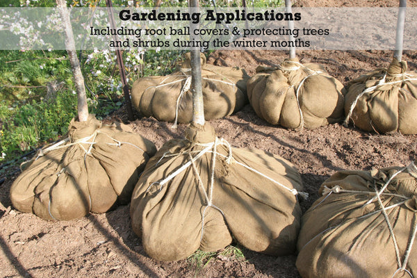 Burlap rolls can be used for gardening applications, including root ball covers and protecting trees and shrubs during the winter months