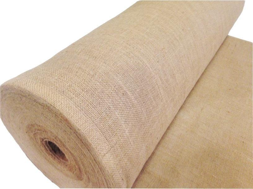 Burlap fabric roll from the side
