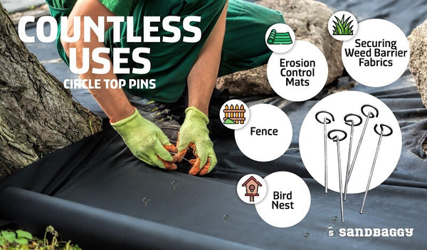 Circle top pins have countless uses, such as securing weed barrier fabrics, erosion control mats, fences and bird nets