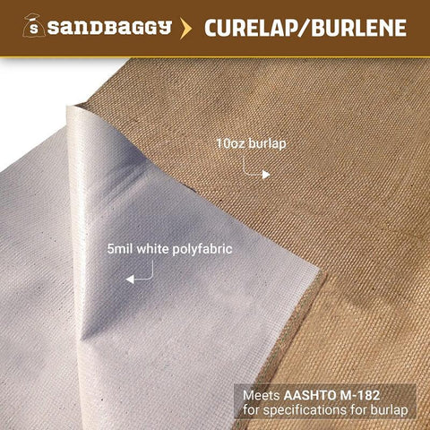 Concrete curing blankets (curelap / burlene): One side is 10 oz burlap while the other side is 5 mil white poly fabric. Curelap meets AASHTO M-182 for specifications for burlap.