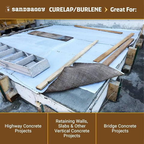Concrete curing blankets (curelap / burlene): great for highway concrete projects, retaining walls, slabs and other vertical concrete projects, bridge concrete projects
