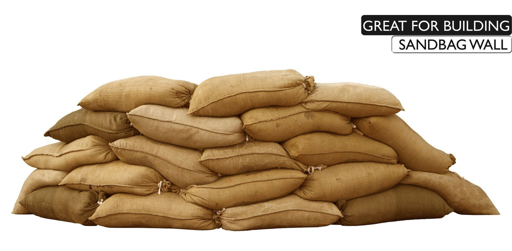 Burlap bags are great for building sandbag walls