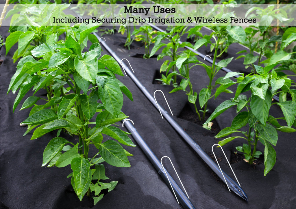 Many uses: including securing drip irrigation and wireless fences