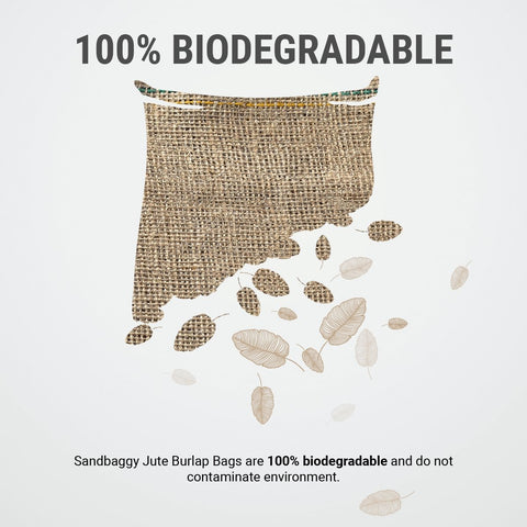 100% Biodegradable: Sandbaggy Jute Burlap Bags are 100% biodegradable and do not contaminate the environment.