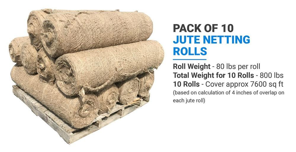 Pack of 10 Sandbaggy Jute Netting Rolls: Roll Weight (80 lbs per roll), Total Weight for 10 Rolls (800 lbs), 10 Rolls (Cover approx 7600 sq ft) (based on calculation of 4 inches of overlap on each jute roll)