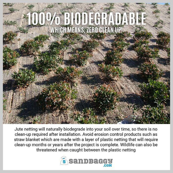 100% Biodegradable (which means, zero clean up!): Jute netting will naturally biodegrade into your soil over time, so there is no clean-up required after installation. Avoid erosion control products such as straw blankets, which are made of a layer of plastic netting that will require clean-up months or years after the project is complete. Wildlife can also be threatened when caught between plastic netting.