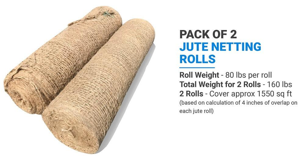 Pack of 2 Sandbaggy Jute Netting Rolls: Roll Weight (80 lbs per roll), Total Weight for 2 Rolls (160 lbs), 2 Rolls (Cover approx 1550 sq ft) (based on calculation of 4 inches of overlap on each jute roll)