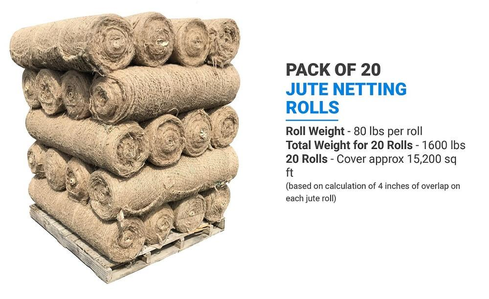 Pack of 20 Sandbaggy Jute Netting Rolls: Roll Weight (80 lbs per roll), Total Weight for 20 Rolls (1600 lbs), 20 Rolls (Cover approx 15,200 sq ft) (based on calculation of 4 inches of overlap on each jute roll)