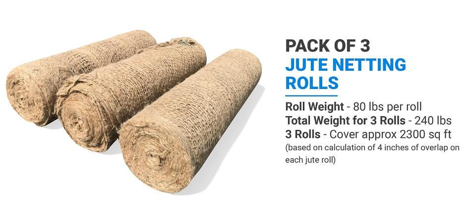 Pack of 3 Sandbaggy Jute Netting Rolls: Roll Weight (80 lbs per roll), Total Weight for 3 Rolls (240 lbs), 3 Rolls (Cover approx 2300 sq ft) (based on calculation of 4 inches of overlap on each jute roll)