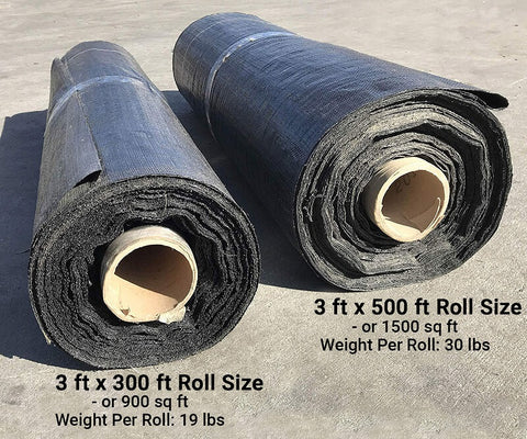 300 foot long roll (900 square feet) and 500 foot long roll (1,500 square feet) side by side