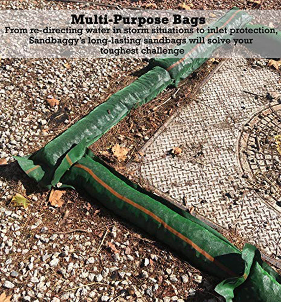 "Sandbaggy 11"" x 48"" tube sandbags are multi-purpose bags. From redirecting water in storm situations to inlet protection, Sandbaggy's long-lasting sandbags will solve your toughest challenge."