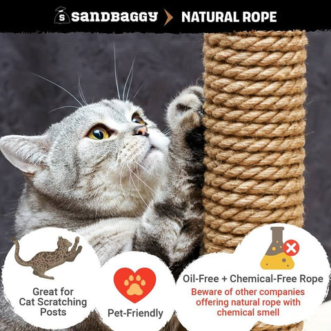 Natural rope: great for cat scratching posts, pet-friendly, oil-free and chemical-free rope (beware of other companies offering natural rope with chemical smell)