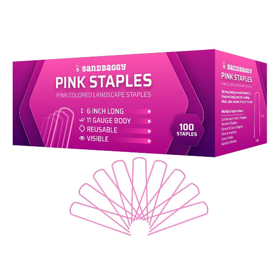 Sandbaggy Pink Staples: Pink Colored Landscape Staples: 6 inch long, 11 gauge body, reusable, visible: 100 staples. Strong body prevents bending. Painted body resists rusting. Pink color makes it easier to see. Multiple Applications: Landscape Fabric Staples, Garden Staples, Ground Cover Staples, Fence Anchors, Lawn Nails, Garden Stakes.