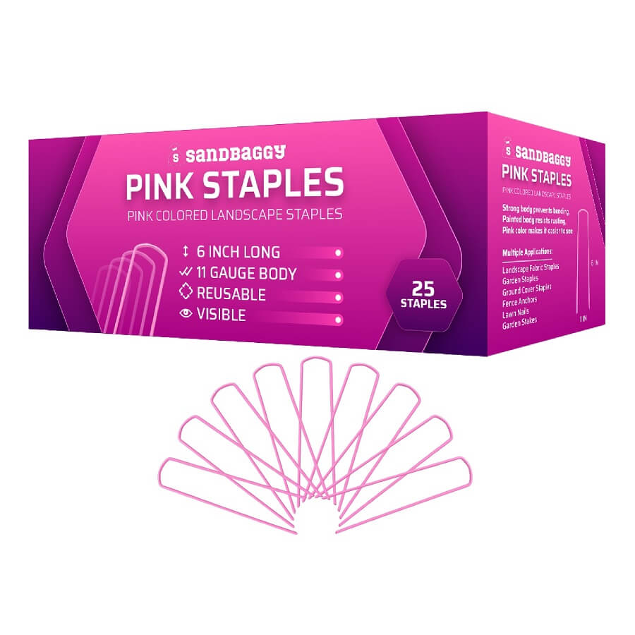 PINK Colored Landscape Staples (Rust Resistant, Stand Out)