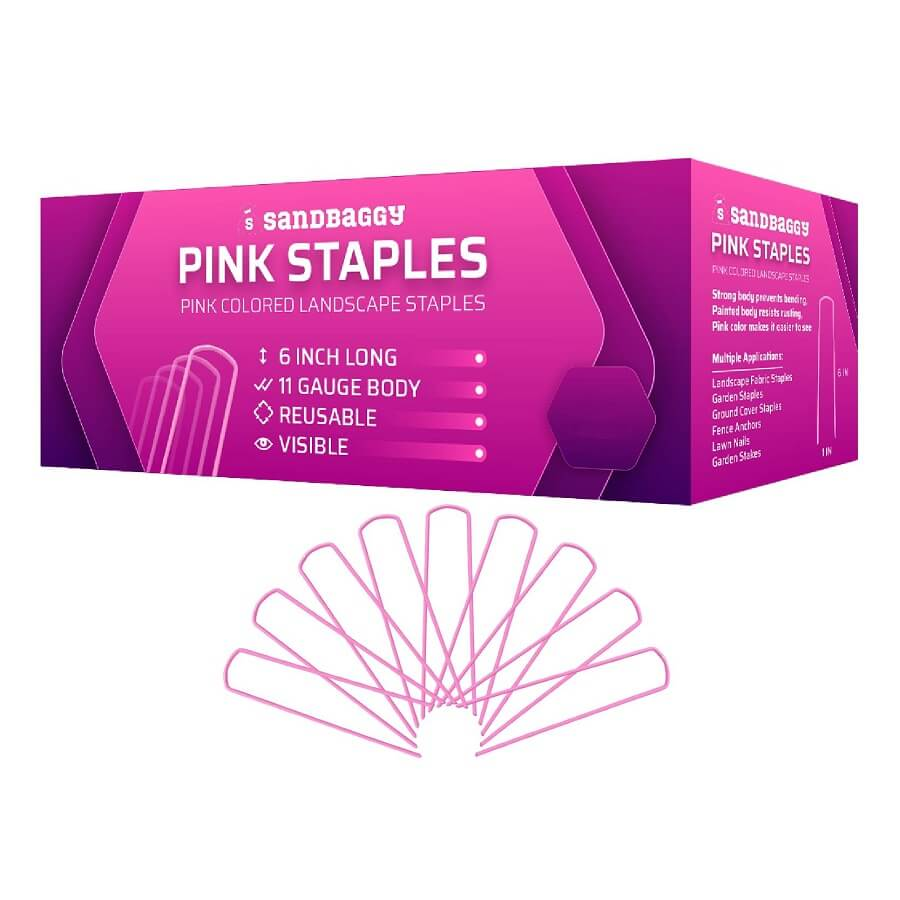 Sandbaggy Pink Staples: Pink Colored Landscape Staples: 6 inch long, 11 gauge body, reusable, visible. Strong body prevents bending. Painted body resists rusting. Pink color makes it easier to see. Multiple Applications: Landscape Fabric Staples, Garden Staples, Ground Cover Staples, Fence Anchors, Lawn Nails, Garden Stakes.
