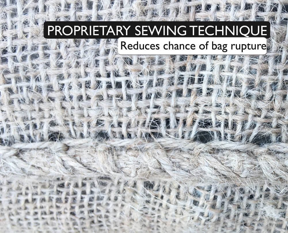 Proprietary sewing technique reduces chance of bag rupture