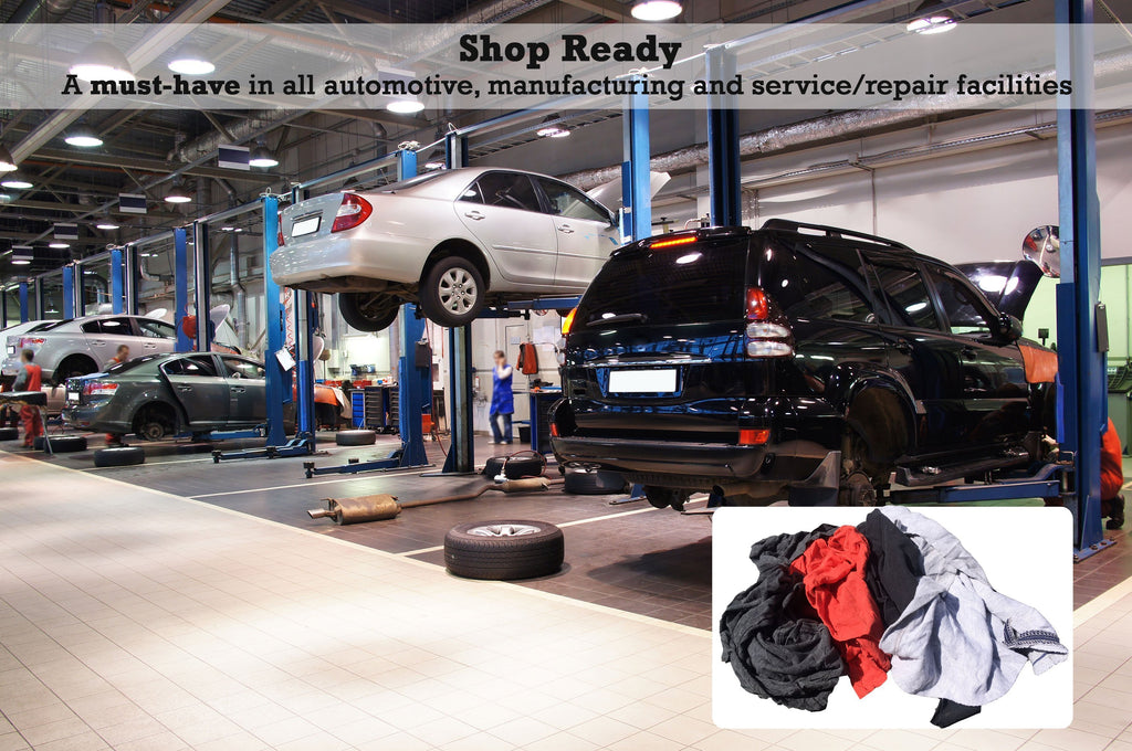 Shop Ready: Cotton and nylon rags are a must-have in automotive, manufacturing, and service/repair facilities for cleaning needs.