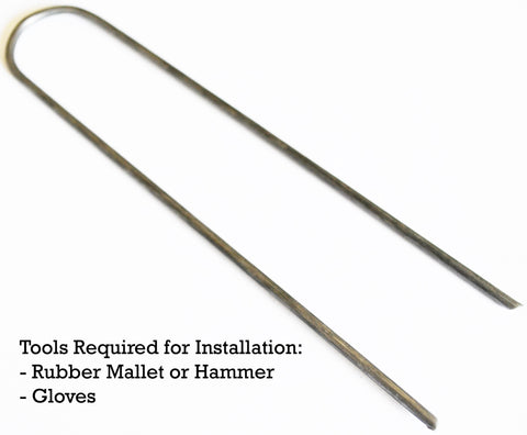 Tools required for round top landscape staples installation: rubber mallet or hammer, gloves