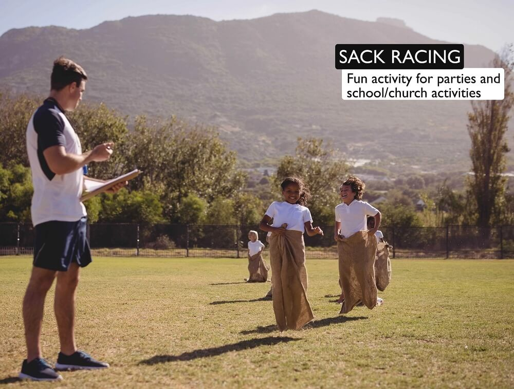 Sack racing is a fun activity for parties and school/church activities