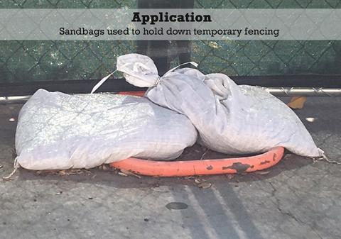 Application: poly sandbags used to hold down temporary fencing