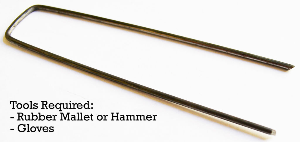 Extra thick 9-gauge staples require two tools for installation: rubber mallet or hammer, gloves