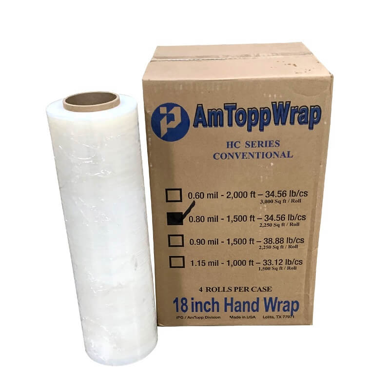 Stretch Wrap Film - 18-inch x 1500 ft [Made in USA]