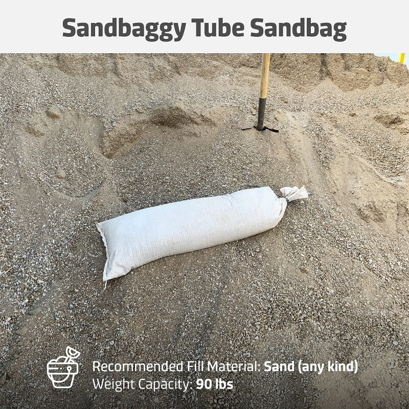 Tube Sandbags 12-inch x 38-inch - White - Extremely Strong