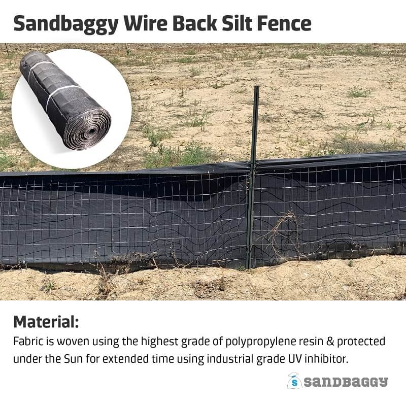 Wire Back Silt Fence (100% DOT compliant)