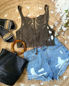 OLIVE LACE UP TANK