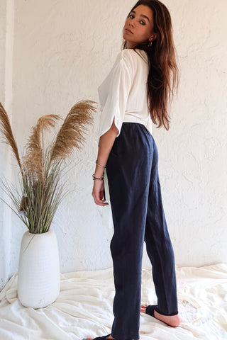 CORE COLLECTION LINEN PANT - BLACK