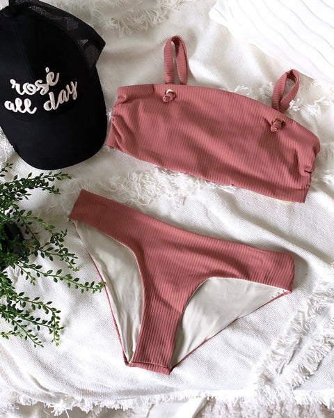 BLUSH RIB BANDEAU SET