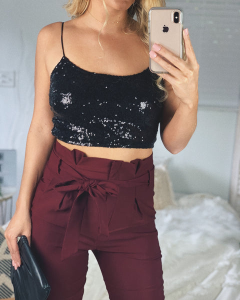 TIME SQUARE CROP TOP - BLACK