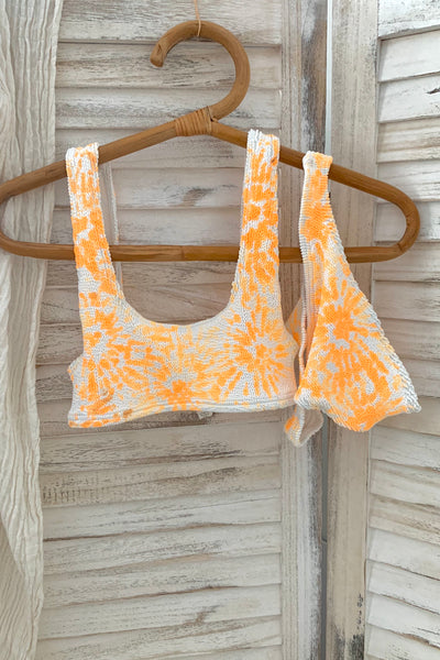 ONE SIZE HAND PAINTED BIKINI SET - ORANGE TIE DYE