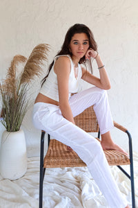 CORE COLLECTION LINEN PANT - WHITE