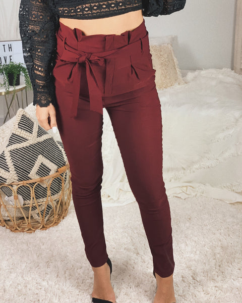 PAPER BAG TROUSERS - MAROON