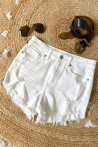 LOLA HIGH RISE DENIM SHORT WHITE