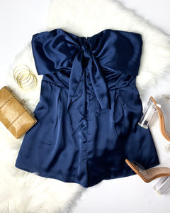 KNOTTY OR NICE ROMPER- ROYAL BLUE