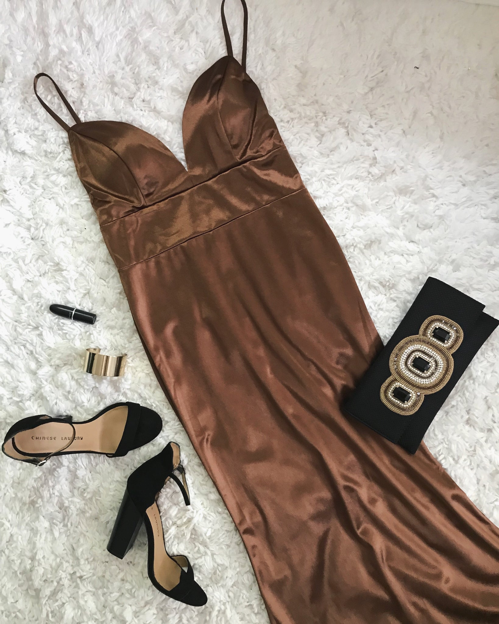 FAIRCHILD SATIN GOWN - COPPER