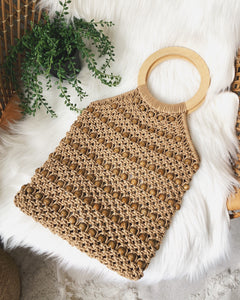 MACRAME HAND SATCHEL BROWN