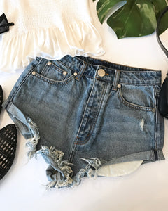 LORNA DISTRESSED DENIM SHORTS