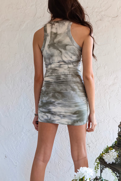 DROP A HINT MINI DRESS - OLIVE