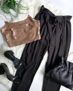 TIME SQUARE CROP TOP - ROSE GOLD