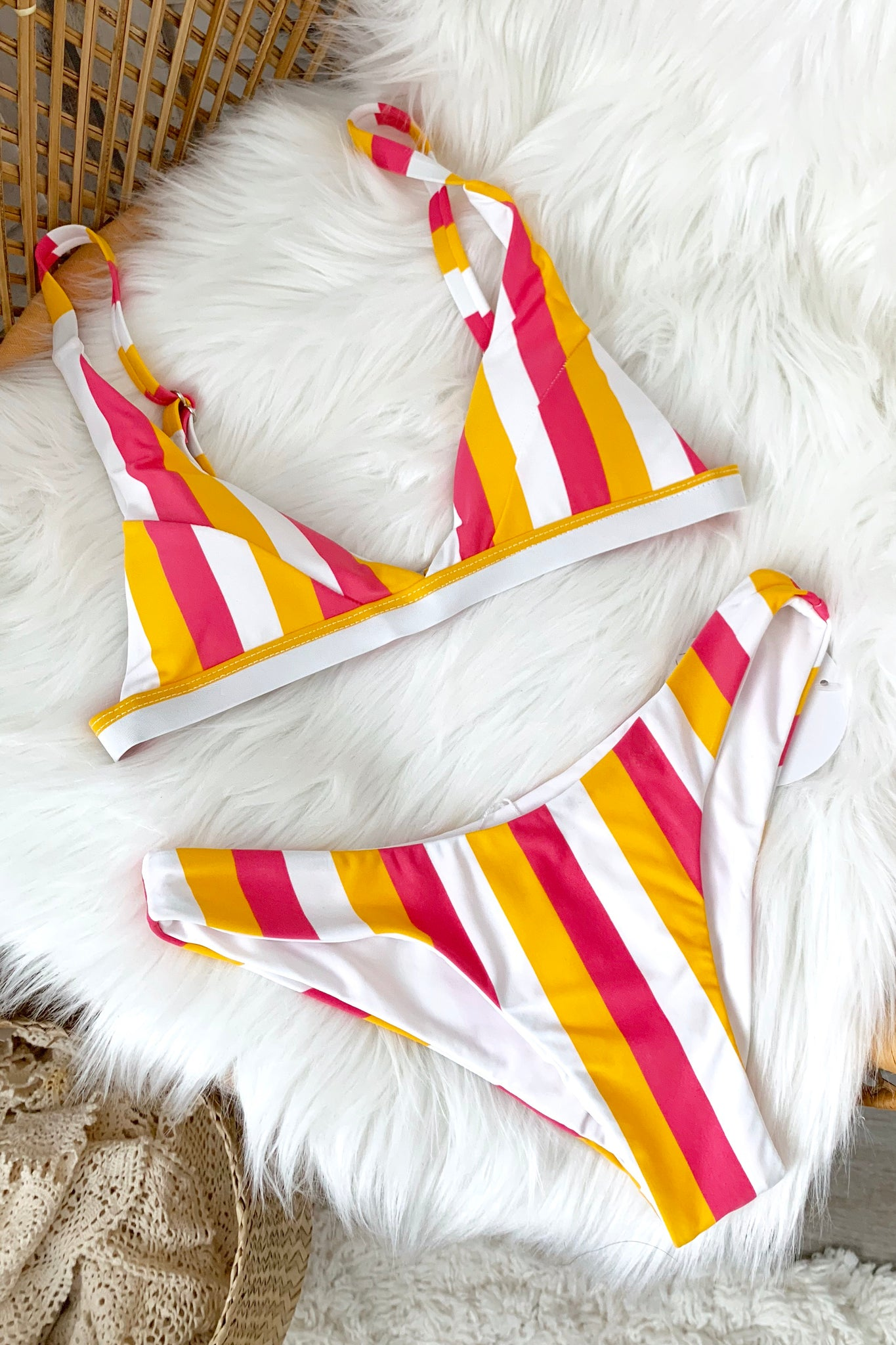 TROPICAL STRIPE BIKINI SET