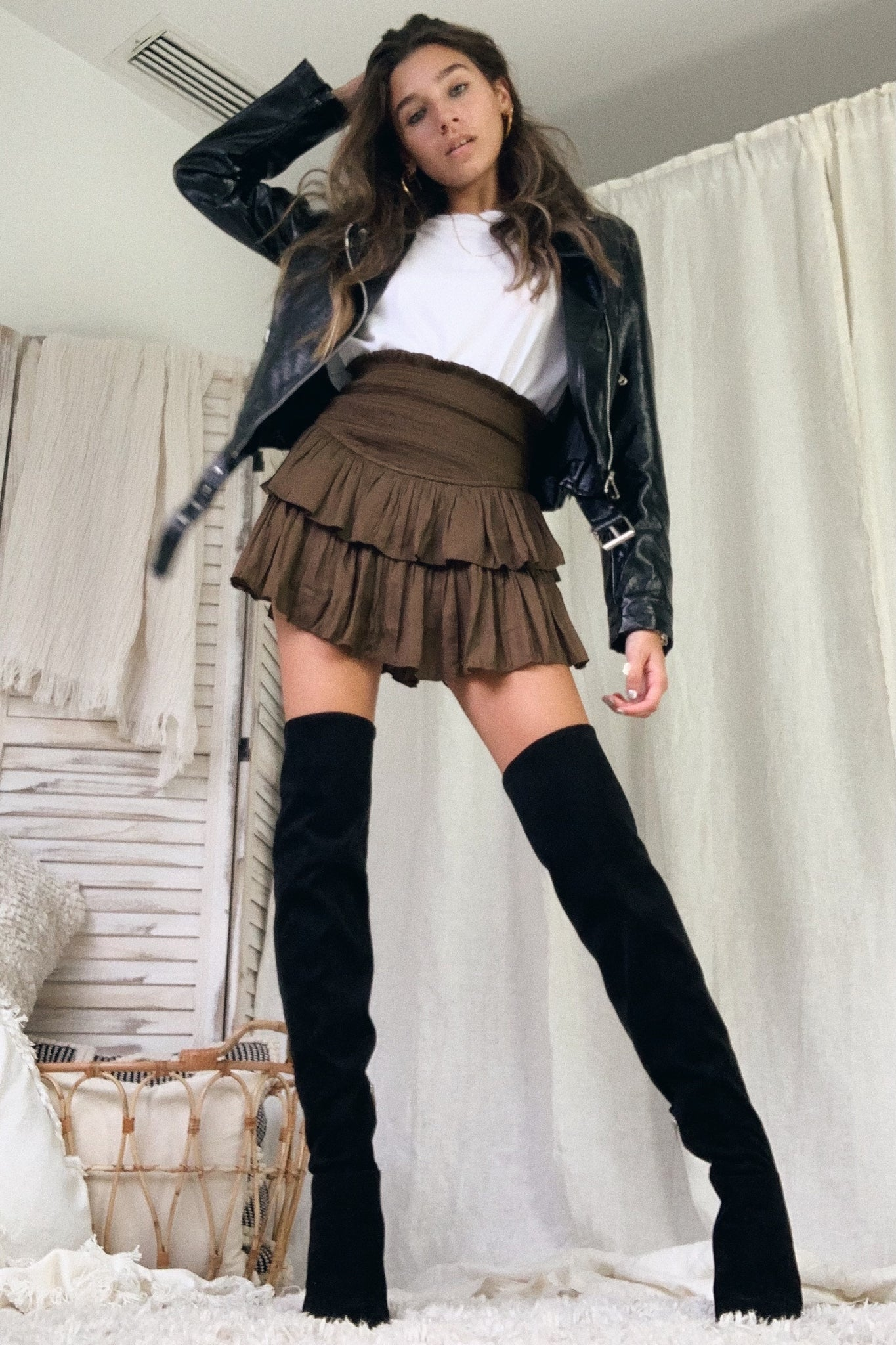 LIVE IT UP SKIRT - CHOCOLATE