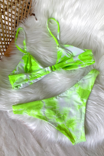 LIME TIE DYE KNOTTED BIKINI SET