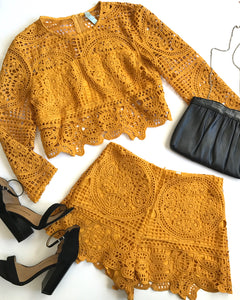 LAZY DOLL SHORT SET - MUSTARD