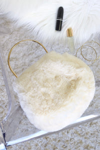 FUR REAL PURSE - WHITE