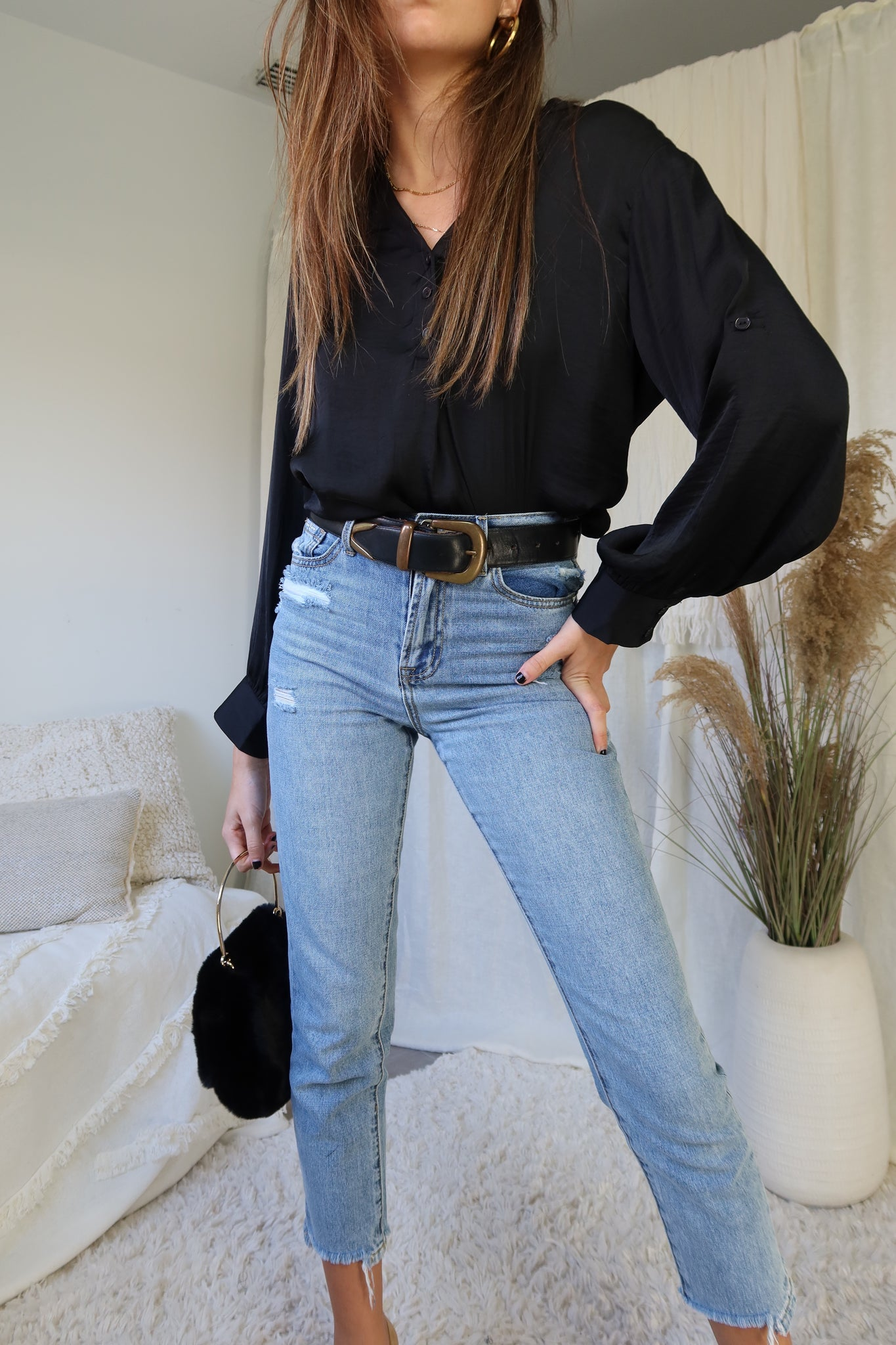 BOSS LADY BLOUSE - BLACK