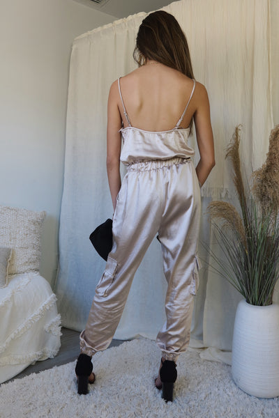 AT TWILIGHT SATIN JUMPSUIT - CHAMPAGNE